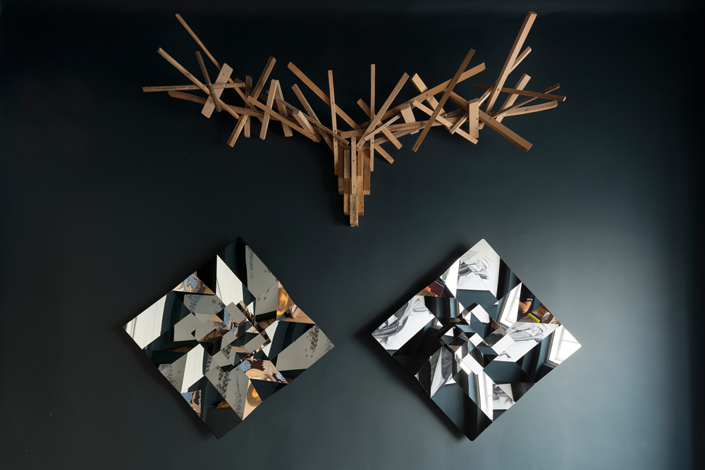 Diamonds Metal Origami collection by Ilan Garibi & Hunter Trophy by Joy Van Erven for Gal gaon gallery, 2015